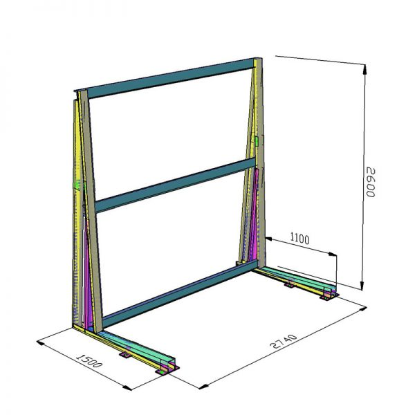 Односторонняя стойка (навал) L-2725 для листового стекла DLF