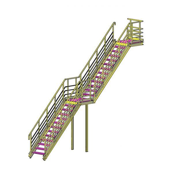металлическая пожарная лестница двухмаршевая