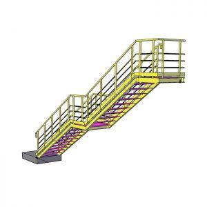 Пожарная лестница двухмаршевая