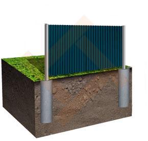 Забор (ограждение) из металлопрофиля и профнастила 1.5 метра