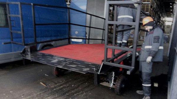 складская мобильная рампа с высоким бортом