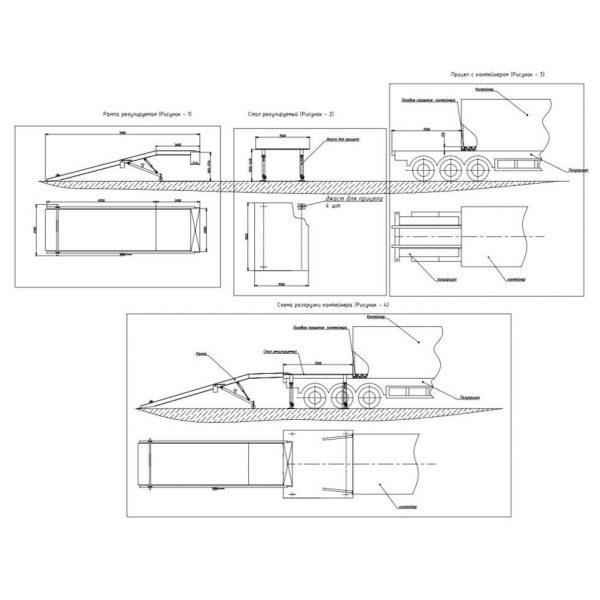 Уравнительная платформа для разгрузки контейнеров (подъемник гидравлический складской)